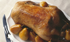 roast-goose-with-spiced-pears-recipe