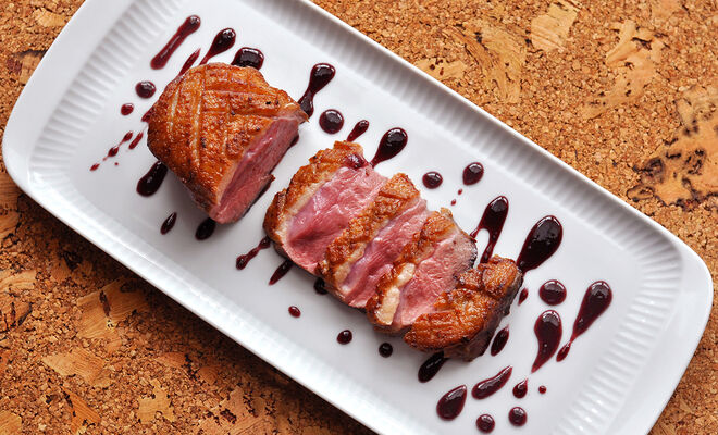 Pan-Seared Duck Breasts with Blueberry-Caramel Sauce Recipe | D'Artagnan
