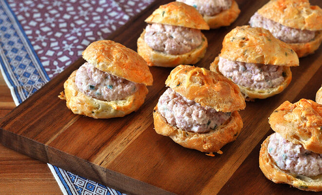 Gougeres Stuffed with Heritage Ham Mousse Recipe | D'Artagnan