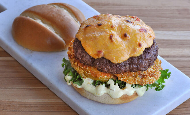 Angus Burger with Pimento Cheese and Fried Green Tomatoes Recipe | D'Artagnan