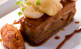 Jesse Schenker Pork Belly with Sherry Carmel & Sauce Romesco Recipe | D'Artagnan