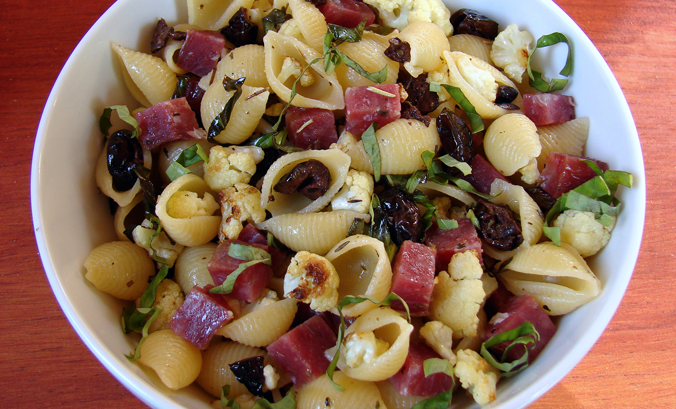 Jennifer Hess Pasta with Roasted Cauliflower, Olives & Saucisson Sec Recipe   D'Artagnan