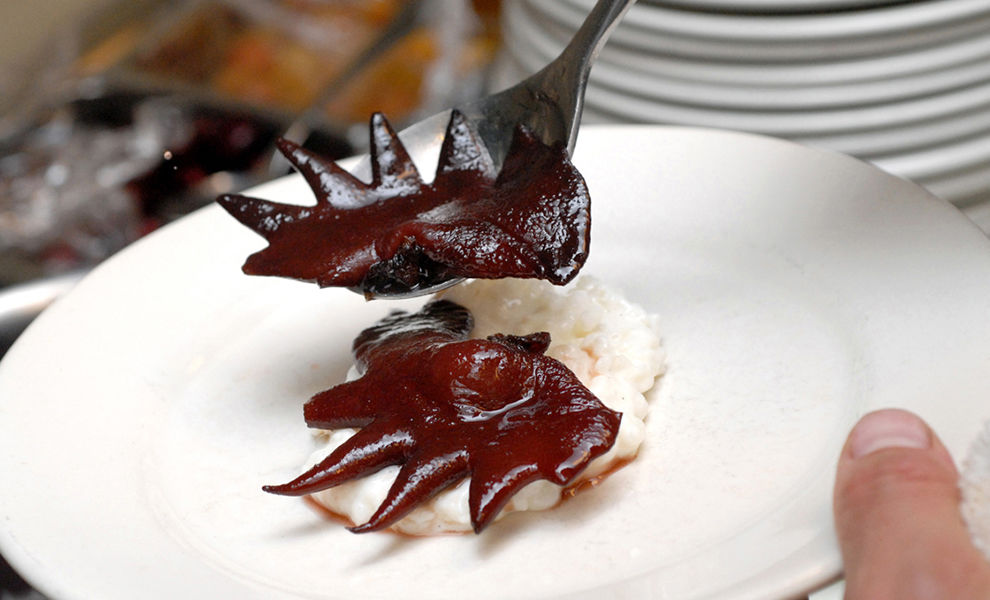 Chris Cosentino's Candied Cockscombs with Cherries & Vanilla Rice Pudding Recipe | D'Artagnan