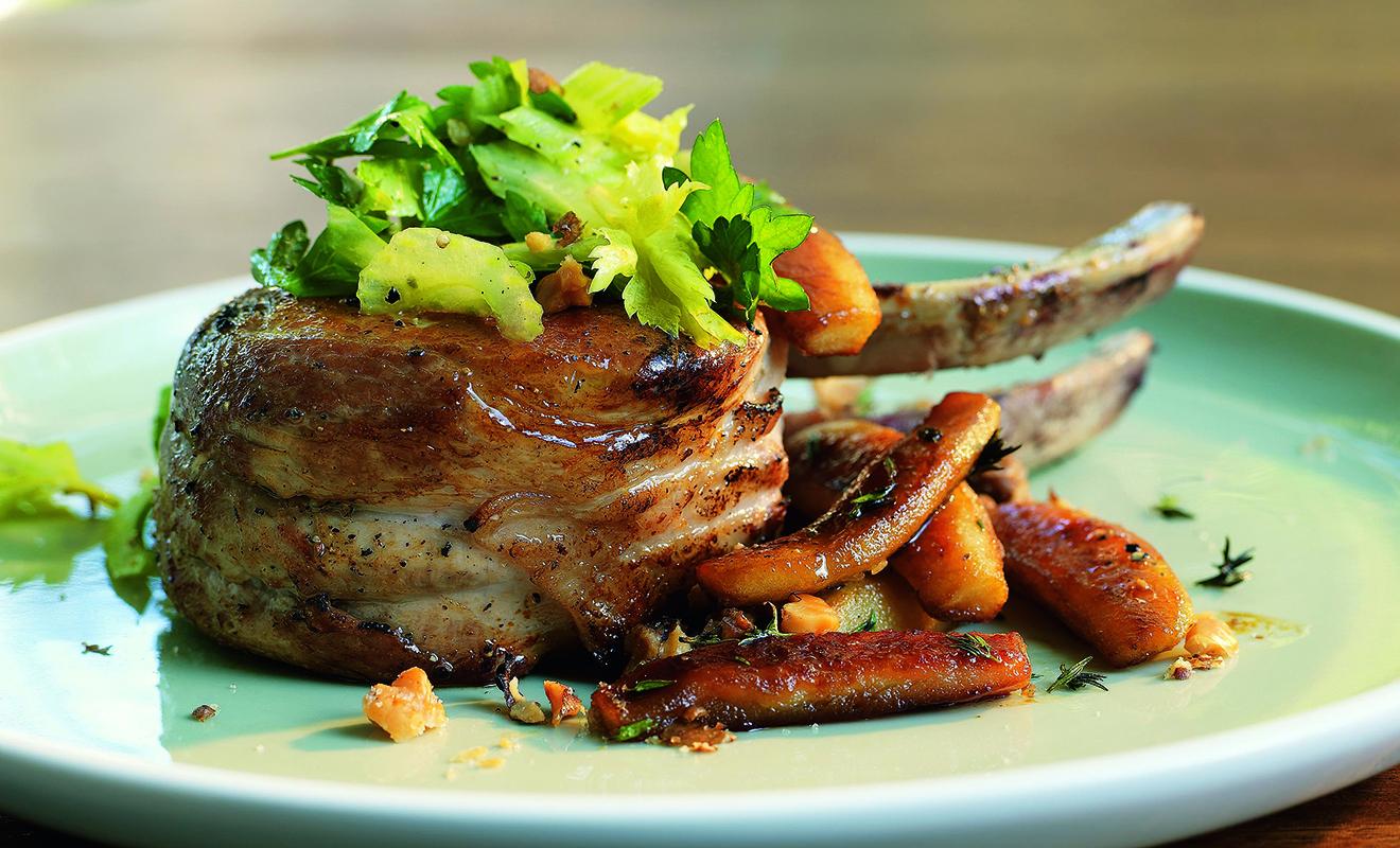 Recipe - Pork Chops with Caramelized Apples, Celery & Spiced Walnuts – Pork – Dartagnan.com