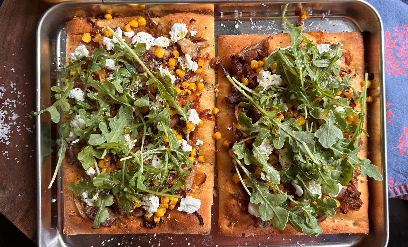 Jennifer Hess Flatbread Pizzas with Duck Confit, Sweet Corn & Goat Cheese Recipe   D'Artagnan