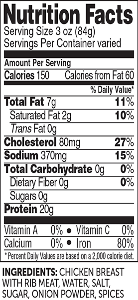 3 oz cooked chicken breast nutrition facts