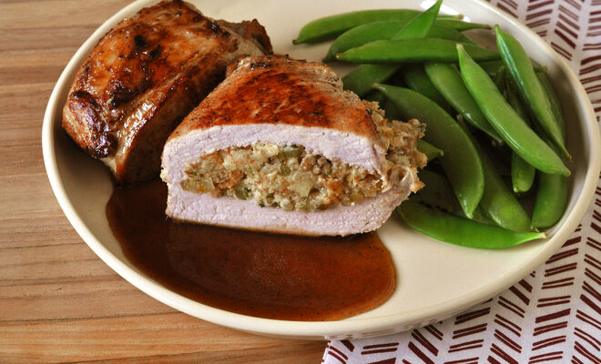 Easy Stuffed Pork Chops with Cider Sauce Recipe | D'Artagnan