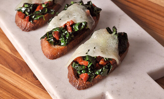 Spicy Chorizo and Sauteed Kale Toasts with Manchego Cheese Recipe | D'Artagnan