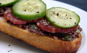 open-faced-tartine-with-olive-tapenade-and-saucisson-recipe