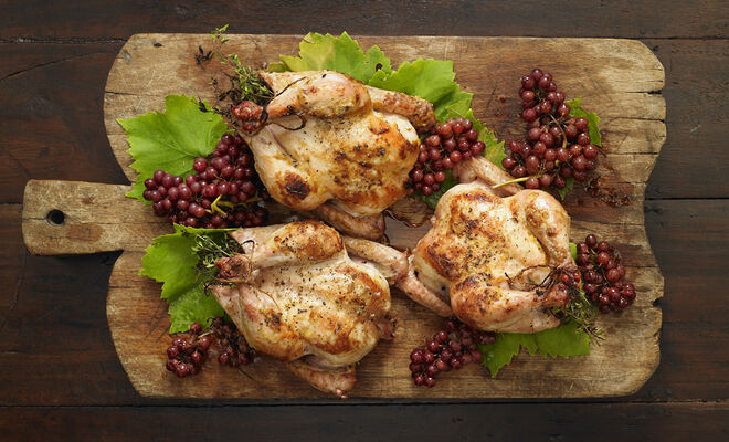 Alison Attenborough's Roast Poussin with Champagne Grapes Recipe | D'Artagnan