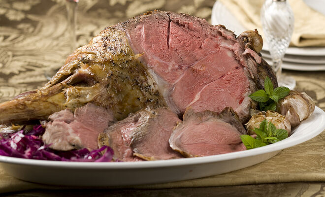 Recipe for Bone-In Roasted Leg of Lamb Holiday Roast