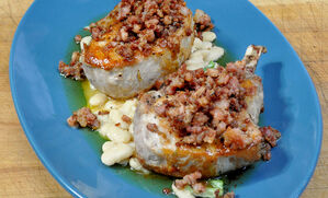 pork-chops-with-crisp-ventreche-and-white-bean-ragu-recipe