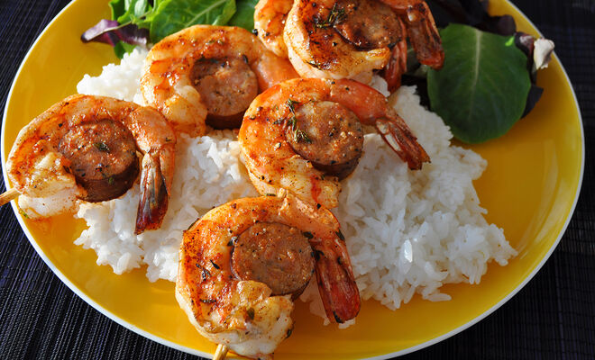 Grilled Andouille & Spicy Shrimp Kabobs Recipe | D'Artagnan