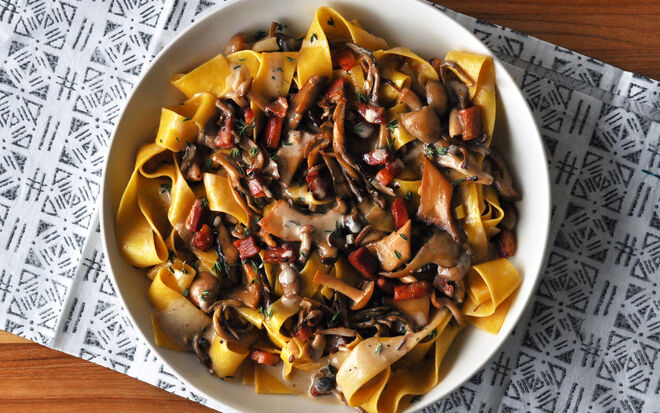 Creamy Truffle Pappardelle with Mushrooms & Pancetta Recipe | D'Artagnan