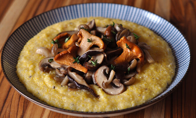 Sautéed Wild Mushrooms with Truffle Butter and Cheesy Polenta Recipe | D'Artagnan