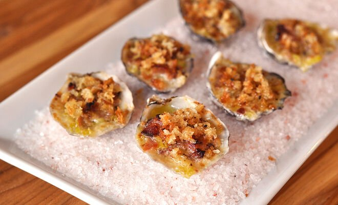 Roasted Oysters with Bacon, Leeks, Truffle, and Cream Recipe | D'Artagnan