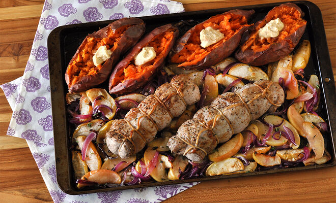 Sheet Pan Pork Tenderloin with Apples & Onions Recipe | D'Artagnan