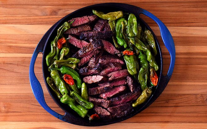 Seared Skirt Steak with Blistered Shishito Peppers Recipe | D'Artagnan