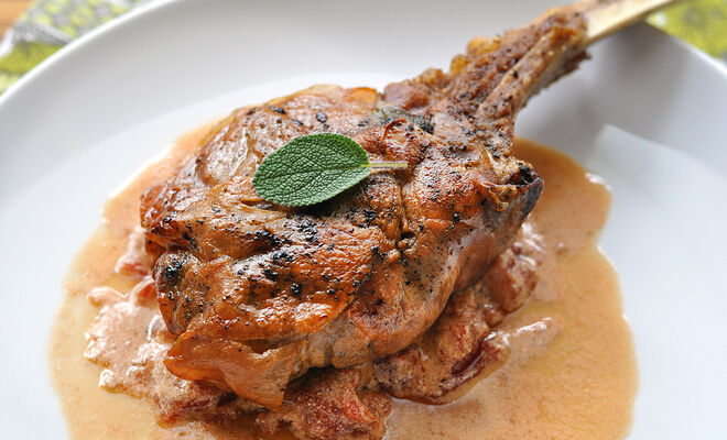 Easy Veal Chops Wrapped in Prosciutto with Sage and Tomato Cream Recipe | D'Artagnan