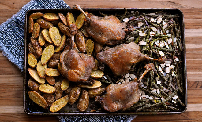 Sheet Pan Duck Confit with Roasted Green Beans & Fingerlings Recipe | D'Artagnan