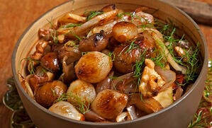 chestnut-walnut-fennel-and-onion-saute-recipe