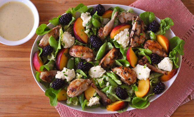 Summer Salad with Grilled Quail Recipe | D'Artagnan