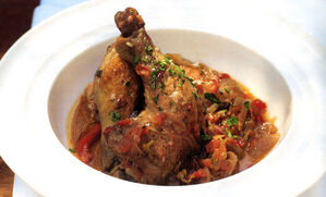 poussin-chicken-cacciatore-with-creamy-polenta-recipe