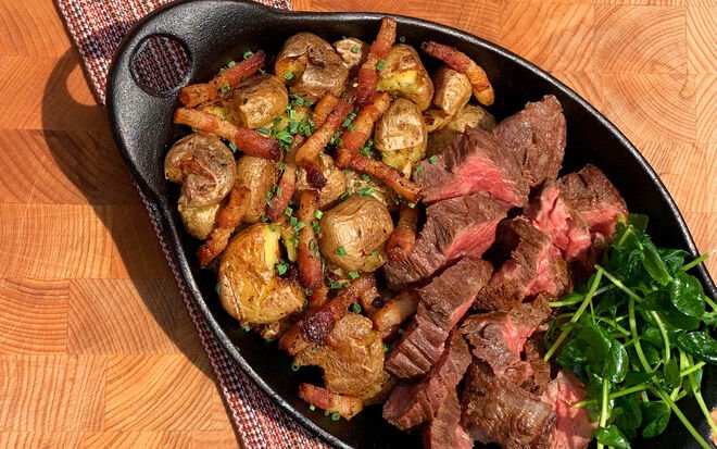 Steak Frites with Smashed Duck Fat Potatoes