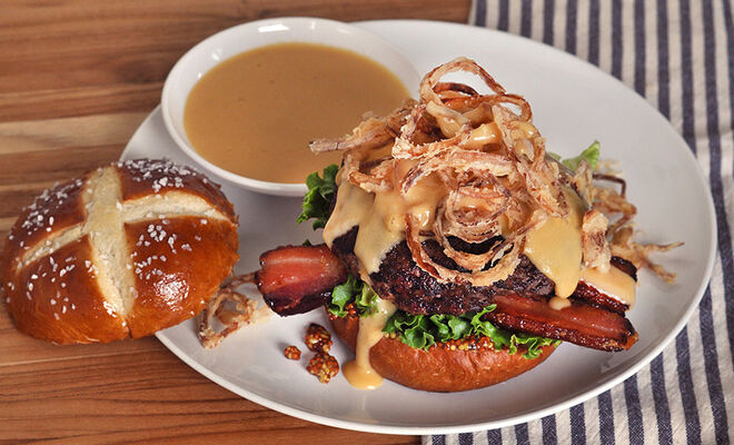 Pretzel Burger with Beer Cheese and Bacon Recipe | D'Artagnan