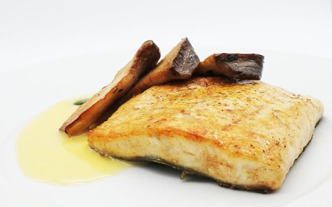 King Turbot with Beurre Blanc and Trumpet Royale Mushrooms