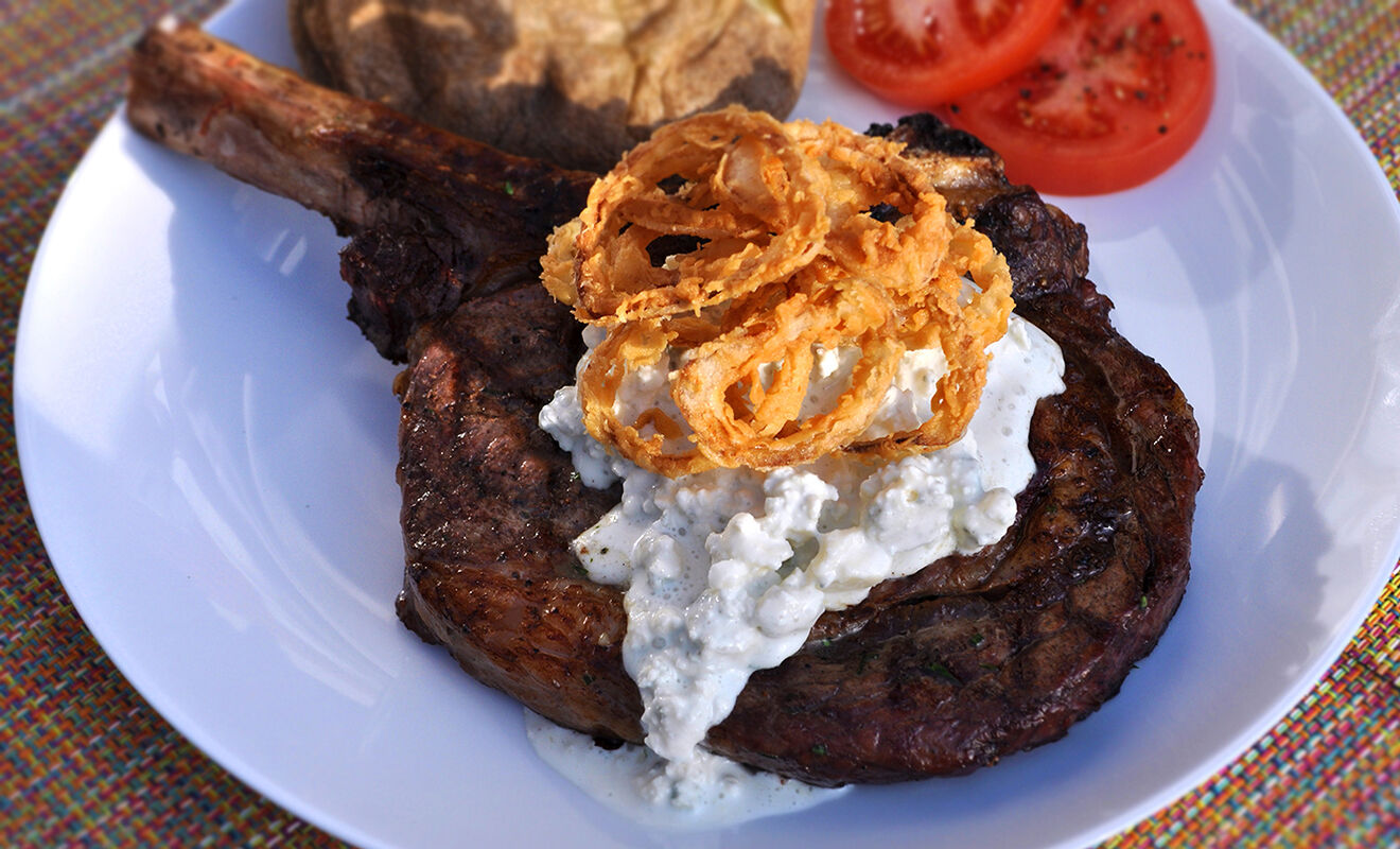 grilled-rib-eye-steak-with-bleu-cheese-and-shallots-recipe