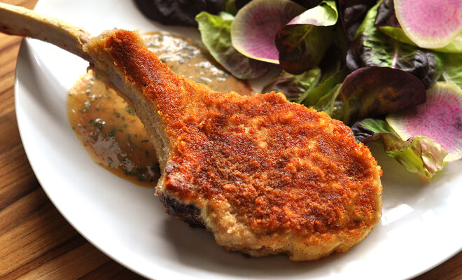 Parmesan-Crusted Veal Chops with Creamy Lemon-Herb Sauce Recipe | D'Artagnan