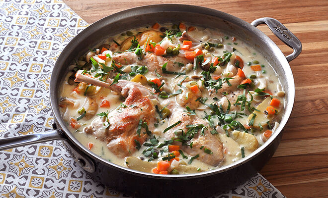 Light Spring Rabbit Stew with White Wine Recipe | D'Artagnan
