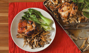 sheet-pan-poussin-with-miso-mushrooms