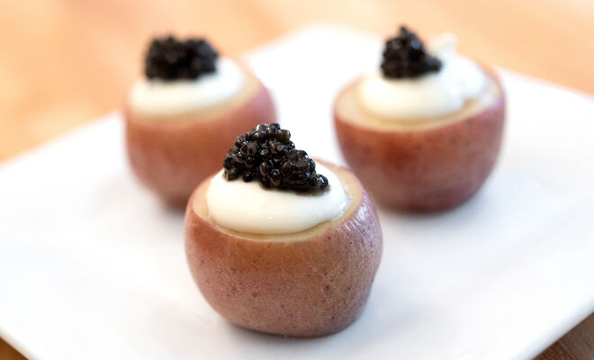 Baby Red Potatoes with Caviar & Crème Fraiche Recipe | D'Artagnan