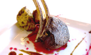 venison-chop-with-candied-radishes-and-duck-spoonbread-recipe