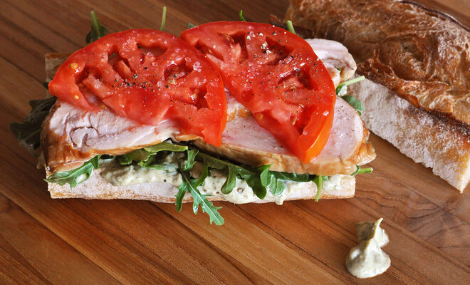 Smoked Chicken Sandwich with Pesto Mayo & Heirloom Tomatoes | D'Artagnan