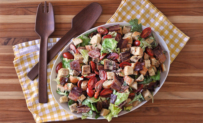 BLT Bacon Panzanella Bread Salad Recipe | D'Artagnan