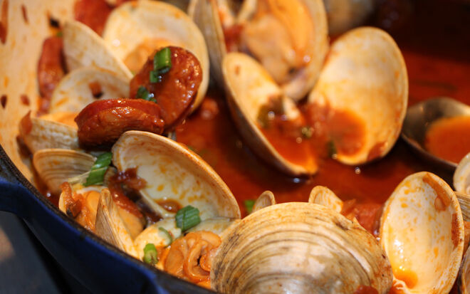 Chorizo and Little Neck Clams in a Spicy Seafood Broth