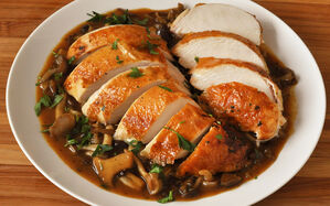 truffle-roast-capon-with-mushroom-gravy-recipe