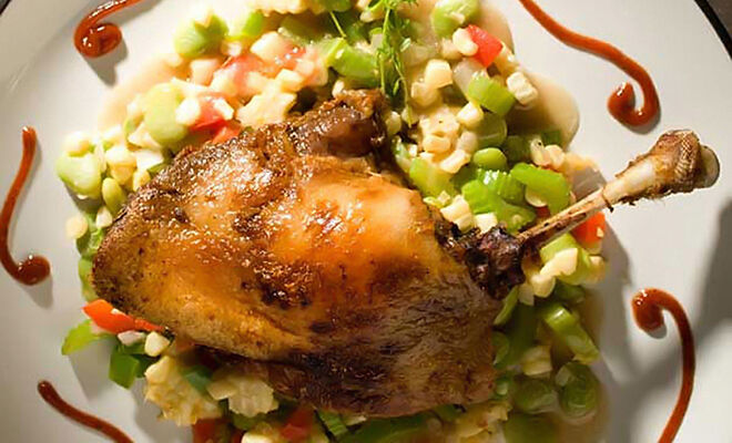 Dixie Duck Confit with Succotash & Smoked Tomato Ketchup Recipe | D'Artagnan