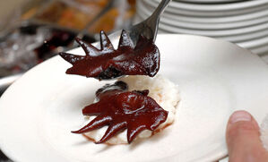 candied-cockscombs-with-cherries-and-vanilla-rice-pudding-recipe