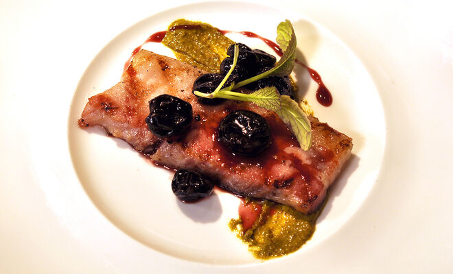 Grilled Pork Belly Confit with Dried Cherry Compote Recipe | D'Artagnan