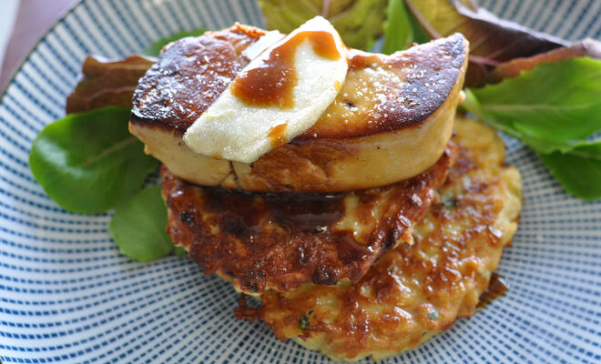 Potato Latkes with Foie Gras & Apples Recipe | D'Artagnan