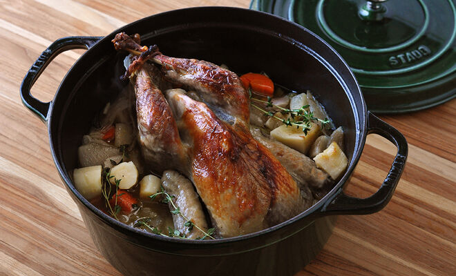 Shallow Braised Whole Guinea Hen Recipe | D'Artagnan