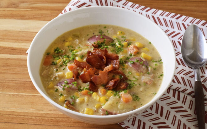 Chicken Corn Chowder with Bacon Recipe | D'Artagnan