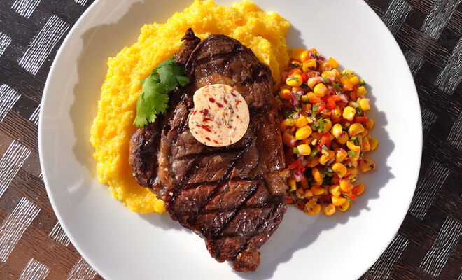 Spicy Buffalo Ribeye Steaks with Corn Salsa & Chipotle Butter Recipe | D'Artagnan