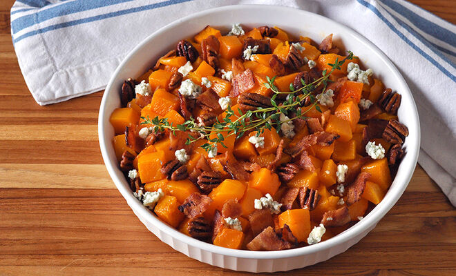 Butternut Squash with Bacon, Blue Cheese, and Pecans Recipe | D'Artagnan