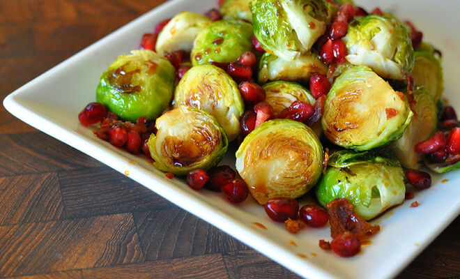 Brussels Sprouts with Bacon & Pomegranate Recipe | D'Artagnan
