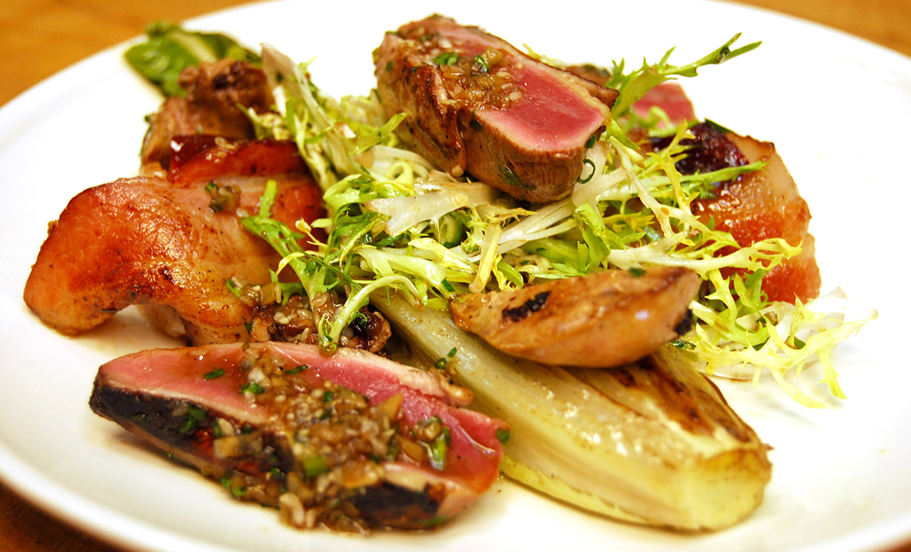 Marcus Samuelsson's Salt-Cured Squab with Bacon-Wrapped Plums & Frisee Recipe   D'Artagnan